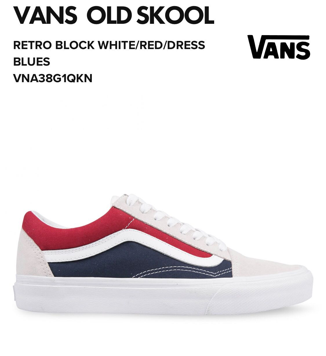 5666e90f35 Vans retro white red blue