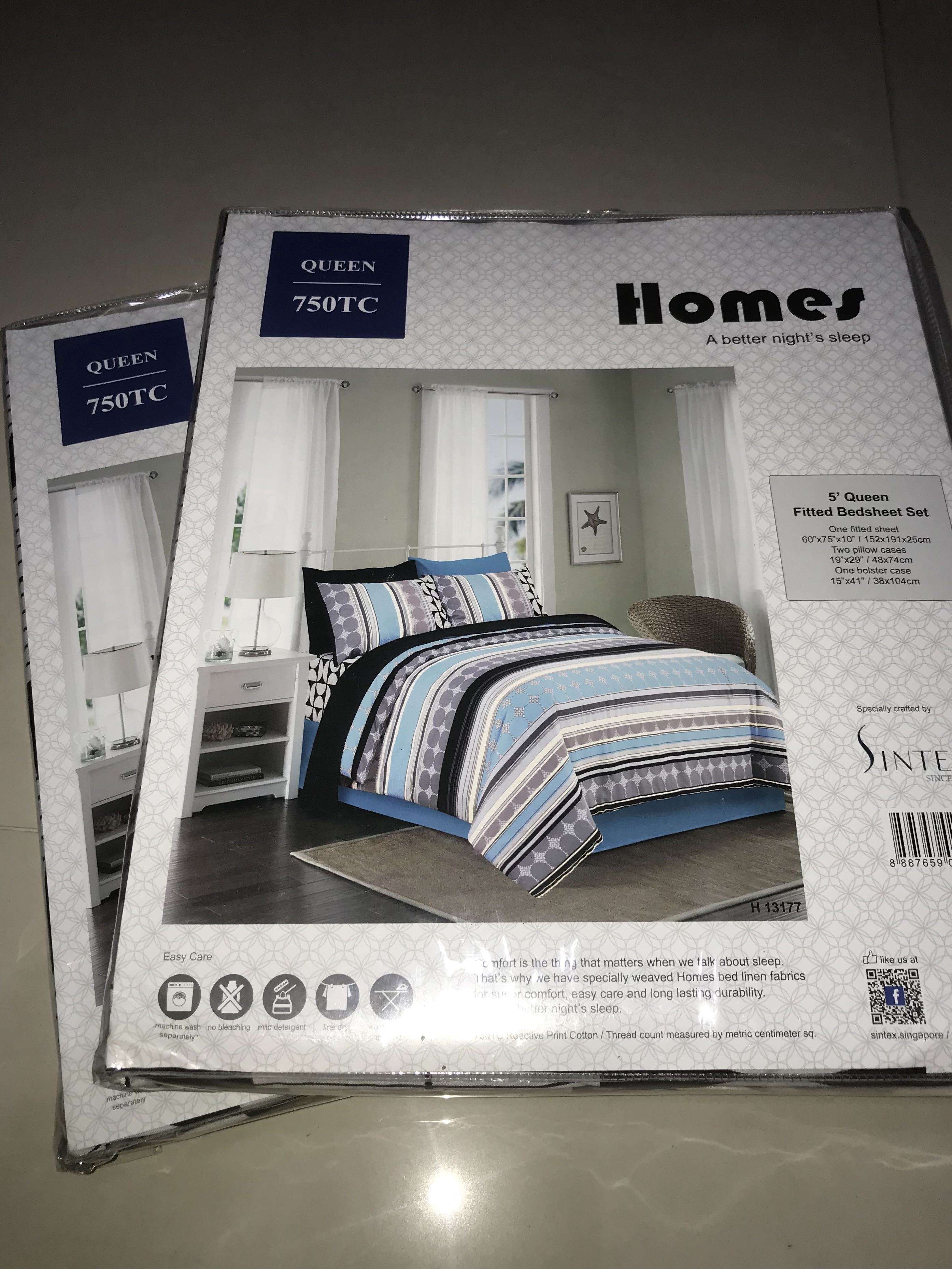 X2 Sintec Queen Size Fitted Bed Sheet 750 Tc Furniture Home Decor