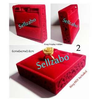 Persegi Cincin/Anting Loket Kes : Kotak Pemegang Hari Lahir Hadiah Pasangan Istimewa Unik Comel Aksesori Square Holder Red Warna Merah Kusyen Asas
