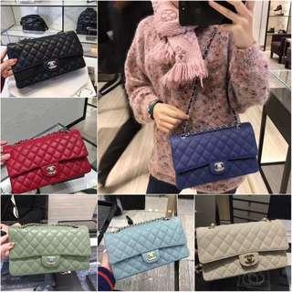 Chanel cf Medium Lingge Pattern Shoulder Messenger Bag Women's Chain Bag 25cm
