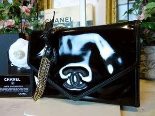 Vintage Chanel黑色漆皮幼金鏈信封袋 20x14cm