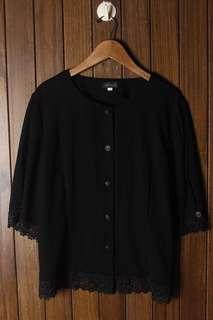 Black Crochet hem button up top