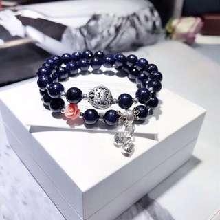 天然夜空藍砂石 925雕刻珠手鏈
