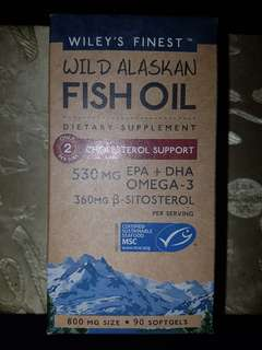 Wiley's Finest Wild Alaskan Fish Oil ( Cholesterol Support ) 90 Softgels