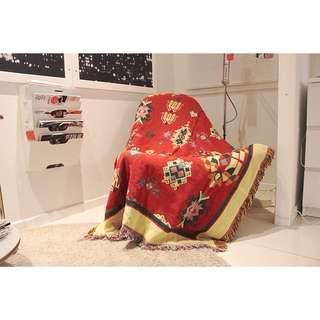 西藏風情棉質防滑沙發毯