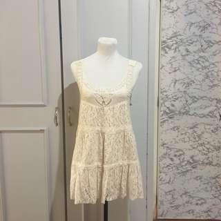 85fad947cbcb Off white mini dress  beach cover up fits S