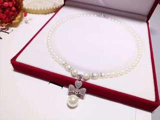天然淡水珍珠頸鏈配925銀玫瑰花扣吊墜