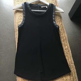 Rachel Rachel Roy Black Top with Leather Trim Size XS