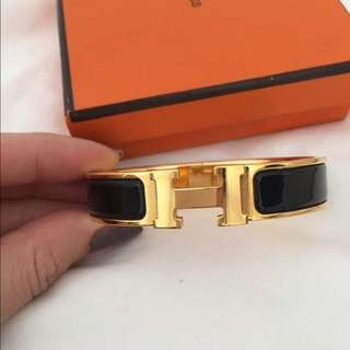 Gelang Hermes H Gold Black Luxury FULLBOX