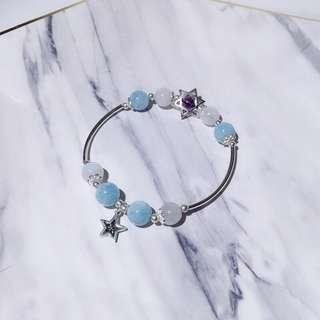 天然海藍寶+月光石+925銀飾手鏈