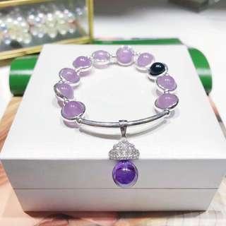 天然薰衣草紫晶手鏈+925銀 紫色轉運球皇冠吊墜