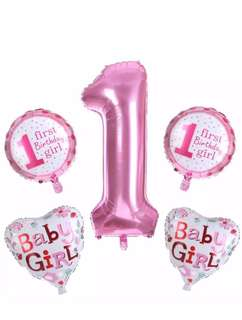 5pcs Baby 1st Birthday set ballons Pink/Girl❤️❤️#Baby#Birthdays#BabyShower