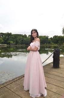Pink off-shoulder gown for rent :) orig price 6k