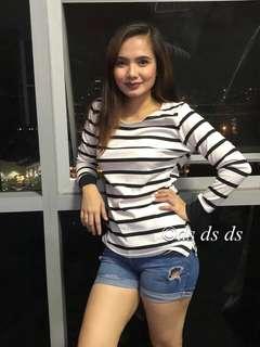 Stripe long sleeves top