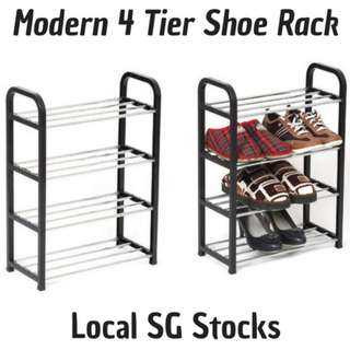 Modern Space Saving 4 Tier Shoe Rack (Easy Assembly & Durable Plastic Metal Design)