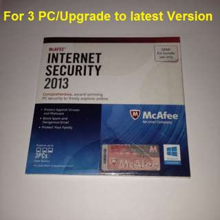 Mcafee Internet Security 3 pc 1 year. Free upgrade to 2018 Version