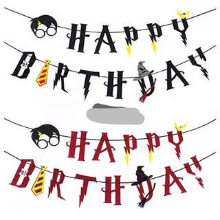 Happy Birthday Bunting Harry Potter , cupcake cake  topper