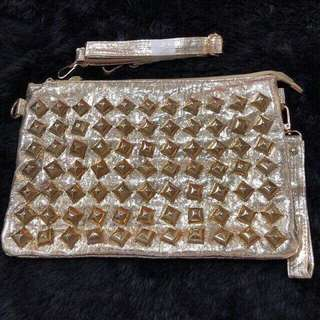 Studded Gold Clutch