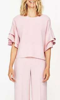 Zara Woman Frill / Ruffle Sleeves Top