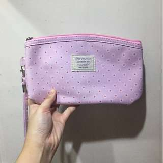 Happy & Smile Pink Floral Pouch