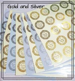"""Terima Kasih"" stickers, gold or silver reflective finishing,  thank you gifts, wedding, engagement, kahwin, berkat label"