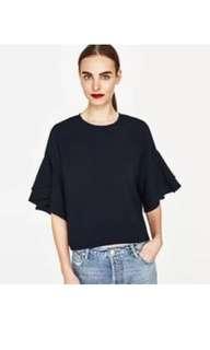 Zara Woman Frill / Ruffled Sleeve Blouse