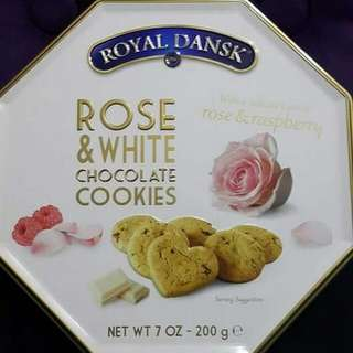 Royal Dansk Rose & White Chocolate Cookies 玫瑰花白朱古力曲奇餅 200g 全新正版