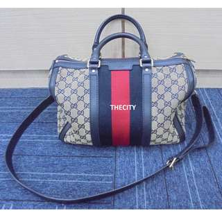 AUTHENTIC GUCCI SPEEDY BANDOULIERE 30 , NAVY WEB BOSTON BAG - WITH LONG SLING STRAP
