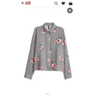 H&M Viscose Pattern Black White Blouse