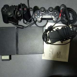 PS2 , With 2 Controllers,  (one Controller Intermittent Faulty Due To Cable) And 15 Assorted Games.
