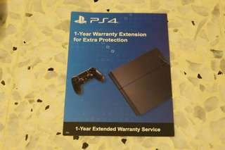 PS4 1 Year Warranty Extension Card