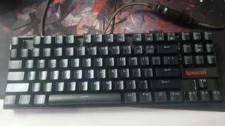 redragon kumara single color red mechanical keyboard