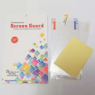 📱Sony Xperia Z1高清mon貼保護機面底2面HD Clear Screen Guard Protector front & back L39H