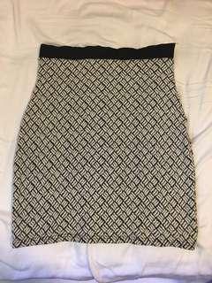 Vintage Black and White Pencil Skirt