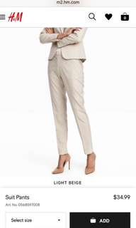H&M Beige Suit Pants. - US 6