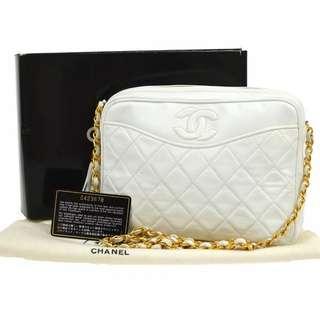 Vintage Chanel白色羊皮流蘇camera bag 23x17cm