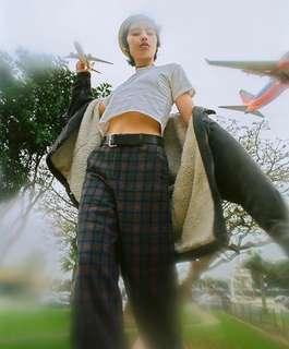 🚚 Unif 🌻 Faye Pant 復古紫色格紋超長寬褲長褲