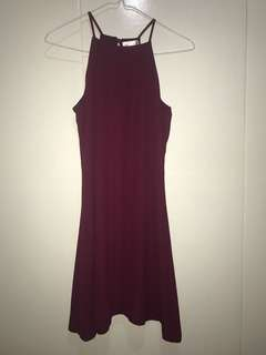 Maroon Halter Dress