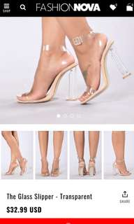 Fashion Nova glass slipper size 6