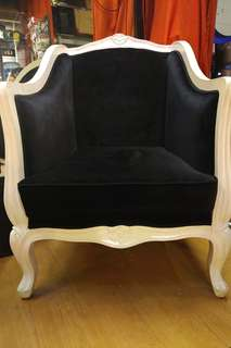 French Victorian White Armchair with Royal Blue Velvet Cover