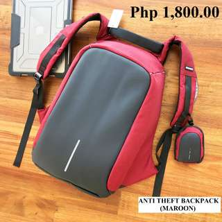 Anti Theft Backpack (MAROON) - BRAND NEW