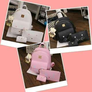 2in1 Korean backpack with small pouch
