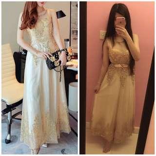 金色閃粉晚裝禮服裙婚紗私影Wedding Dress