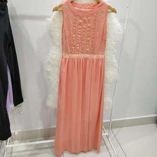 Peach Orange Colour Sleeveless High Neck Chiffon Dinner Long Dress