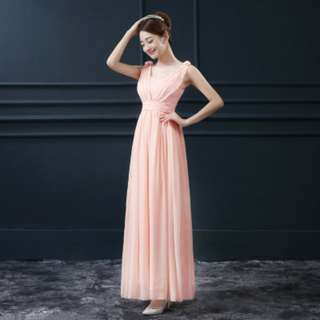 (Reduced!) Peach Orange Colour Double Strap with Rose Long Chiffon Dinner Dress
