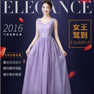 (Reduced!) Purple Lavender Colour Double Strap Long Chiffon Dinner Dress