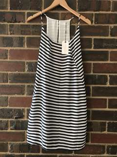 Elwood dress with navy and white stripes
