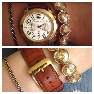 Mk Mercer Leather Watch