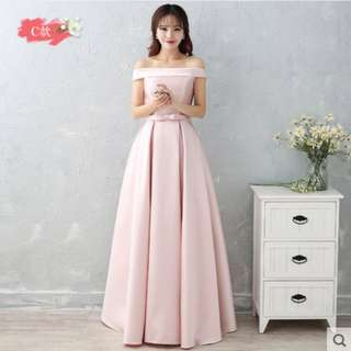 Dusty Pink Colour Criss Cross Ribbon Satin Dinner Dress