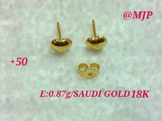 HEART EARRINGS 0.87 GRAMS 18K SAUDI GOLD